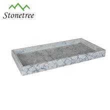 natürliches weißes Marmor Tablett 26.5x15x4cm