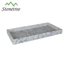 bandeja de mármore branco natural 26.5x15x4cm