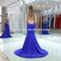 Neue Ankunfts-blaue Farbe Sleeveless wulstiges langes Abend-Kleid-Fisch-Schnitt