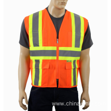 ANSI Approved Safety Vest With 4 Lower Pockets, 2 Chest Pockets with Pen Divider & High Visibility Reflective Tape