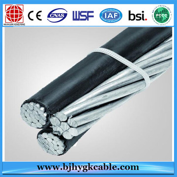0.6 / 1KV Triplex Aerial Bundle Cable Flustra 3/0 AWG AAC / XLPE / PE + 3/0 AWG AAAC