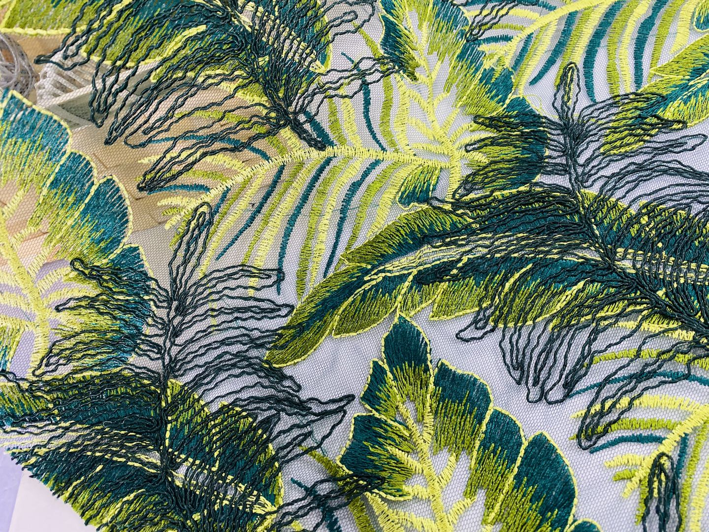 Forest Green Cord Embroidery Fabric For Dresses