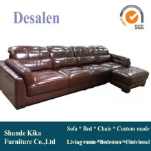 L Shape Brown Color Leather Sofa, Home Furniture (909)