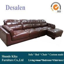 Sofá de couro de cor marrom de forma L, mobília Home (909)