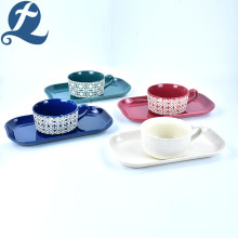 Fashion Custom Printing Stoneware Ceramic Handle Soup Bowl Set With Rectangular Plate