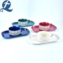 Modische benutzerdefinierte Druck Steinzeug Keramik Griff Suppe Schüssel Set mit rechteckigen Platte