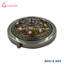 Etched Bronze Round Flower Cosmetic Mirror for Sale