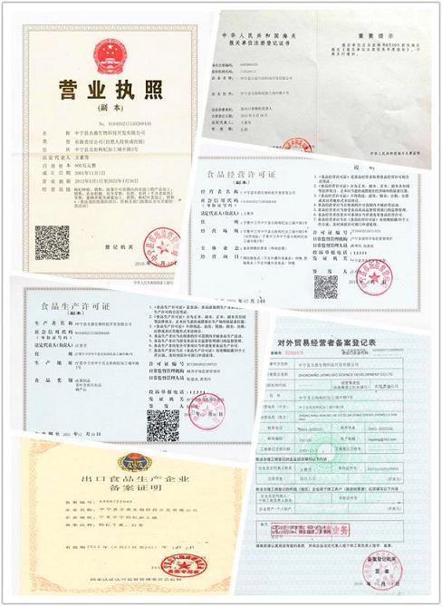 Goji Berry company certificate