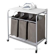 vivinature Wäschesortierer mit faltbarem Bügelbrett, Multifunktionswäschereiwagen
