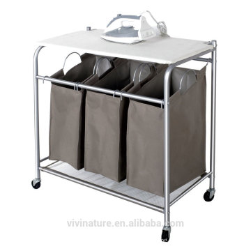 vivinature Laundry Sorter with Foldable Ironing Board, Multifunctional Laundry Cart