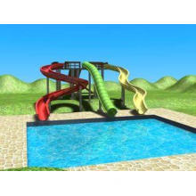 outdoor water playground sliding board , green adult / kids