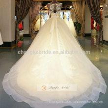 Una línea de tul sin mangas de encaje vestido de novia con cuello escote y Beading Sash