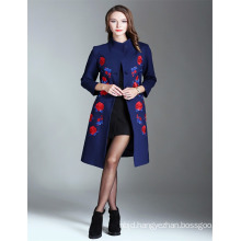 2017 Hot Sale Embroidered Wholesale Long Trench Coat Women