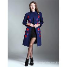 2017 Горячей Продажи Вышитые Оптом Длинный Тренч Пальто Женщин