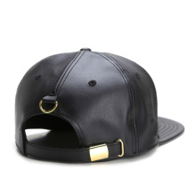 Brown Leather Strap Snapback Chapéus