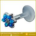 Синий Опал Драгоценные Камни Цветок Био Флекс Микролабрета Спираль Хрящ Серьги