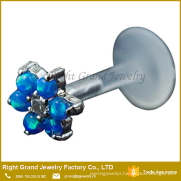 Blue Opal Gems Flower Bio Flex Internally Threaded Labret Helix Cartilage Earring