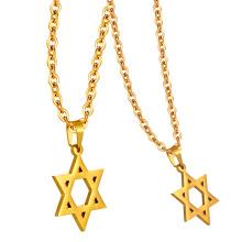 Reales Gold überzogener 316L Edelstahl-Israel-Metallhalsketten-Charme-Davidsstern Anhänger