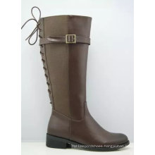 New Style Fashion Flat Ladies Knee High Boots with Zipper (S 308)
