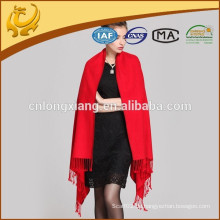Rote Farbe Frau Dick Fleece Seide Schals Großhandel Pashmina Schal
