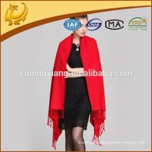 Cachecóis de seda de lã grossa e de cor vermelha para mulher, por atacado, xale de Pashmina