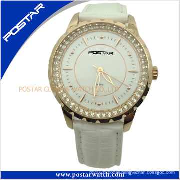 Jewelry High Quality Stainless Steel Leather Watch with IP Gold Plating