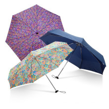 Promotion Fashion Ladies Gift Aluminium Small 5 Fold Super Compact Mini Umbrella In Case