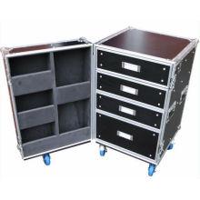 Kundenspezifische professionelle Kosmetik 4 Schublade Flight Case mit Rädern (KeLI-Schublade-1001)