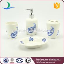 4pcs encantador flores padrão de cerâmica banheiro acessórios decoração conjunto