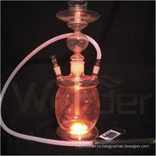 Оптовая все стеклянные кальяны Shisha, цветные дыма Кальян со светодиодной