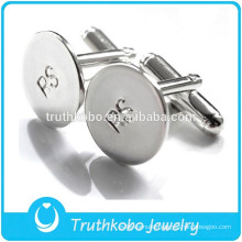 F-C0014 Mens Stainless Steel Jewelry Cufflink Engraved Logo Silver Round Simple Design Cufflinks Sales
