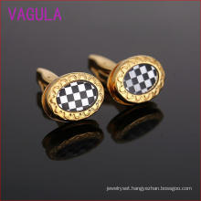 Sunflower Shape Checkered Gold Plating Copper Cufflinks L51922