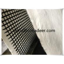 Geogrelha de fibra de vidro composta com geotêxtil