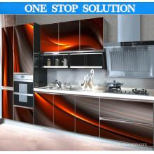 U en forma de 3D moderno gabinete de cocina efectiva