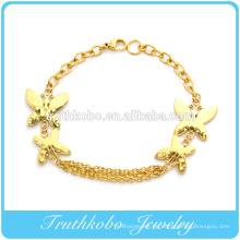2014 heißer Verkauf beste Geschenk Vakuum Beschichtung goldenen Permanent Schmetterling Link Armreif Edelstahl Schmuck