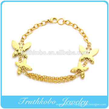 2014 Hot sale best gift vacuum plating golden permanent butterfly link bangle bracelet stainless steel jewelry
