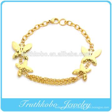 2014 Hot sale melhor presente chapeamento a vácuo de ouro permanente butterfly link pulseira pulseira de aço inoxidável jóias