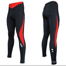 Custom Sublimated Cycling Wear Runner Lycra Long Pants Without Pad  Black / Red