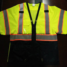 Safety T-Shirt with Reflective Caution Band 100%Polyester Knitting Fabric