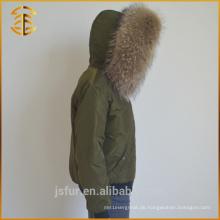 China Hersteller OEM Service Mantel Fox Jacke Weiblich Pelz Parka