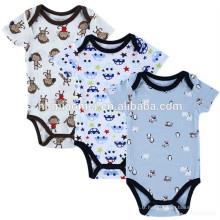 0-3 mois doux élégant coton biologique bébé garçon vêtements imprimé bébé vêtements ensemble barboteuse