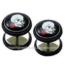 Fashion Symbol Skull Fake Ear Plug Earrings 1.2x6x10x10mm Silver Stainless Steel - Standard 16 Gauge (00 G