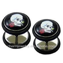 Moda Símbolo Crânio Falso Ear Plug Brincos 1.2x6x10x10mm Prata Aço Inoxidável - Padrão 16 Gauge (00 G