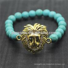 Türkis 8MM runde Perlen Stretch Edelstein Armband mit Diamante Legierung Leopard Kopf Stück