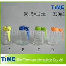 Botella de vinagre de salsa de soja de vidrio de grado alimenticio con tapa de plástico