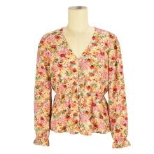 wholesale designer  v neck summer blouse fashion ladies floral long sleeve women blouse tops