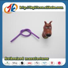Kunststoff Tier Spielzeug Mini Hund Figur mit elastischem Bleistift