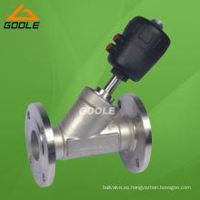 Válvula de asiento con ángulo de brida neumática con patrón Y de acero inoxidable (GAYASV)