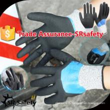 SRSAFETY 13G Бесшовные трикотажные с водонепроницаемыми песчаными двойными нитрильными перчатками защитные рабочие перчатки