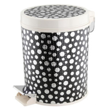 Plastic and Leatherette Covered Fashion Pedal Dust Bin